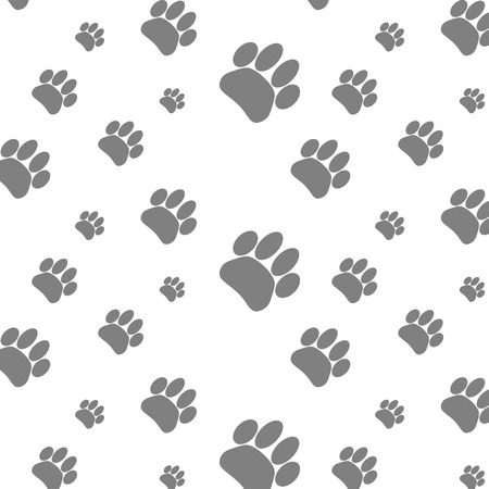 Seamless patter foot print dog. Footprint animal background, paw pet, wander puppy, vector graphic illustration  イラスト・ベクター素材