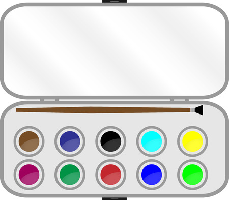 Set of paints with  brush in box. Watercolor and education, palette and paintbrush, colorful equipment, art tool craft. Vector graphic illustration