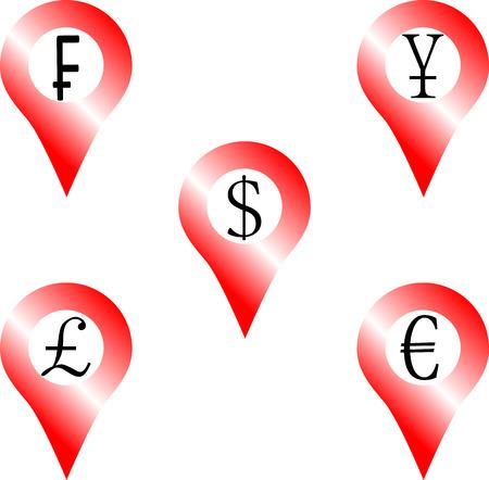 frank: Set of location money symbol. Navigation euro pound yen frank dollar. Vector graphic illustration