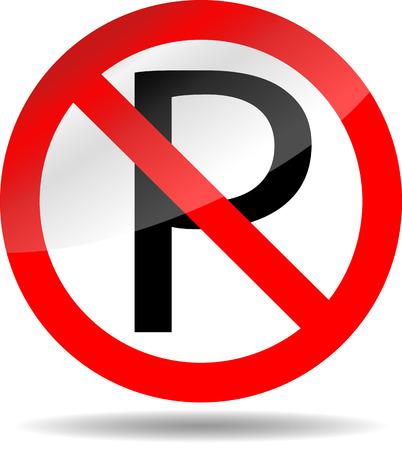 Ban parking. Forbidden sign, symbol prohibited, not car,  roadsign vector graphic illustration Vector