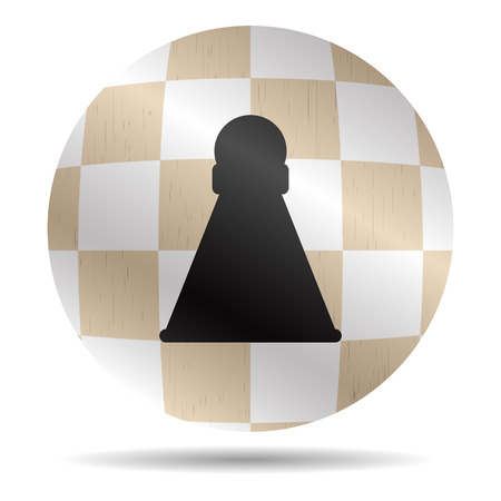 rank: Icon chess pawn. Chessboard symbol, checkmate and rank, button and sign, strategy and sport. Vector graphic illustration Illustration