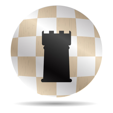 rank: Icon chess rook. Chessboard symbol, checkmate and rank, button and sign, strategy and sport. Vector graphic illustration Illustration