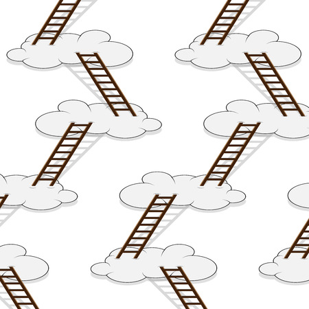 Stairway to clouds seamless pattern. Progress growth, win and strategy, improvement and challenge, vector graphic illustration