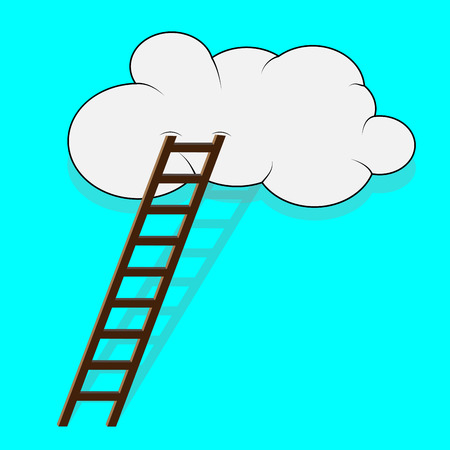 stairway: Stairway to the cloud. Sky and step, climb and ladder, way top, vector graphic illustration