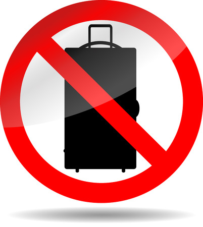 Ban luggage. Baggage bag no or not, prohibition button. Vector illustration