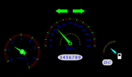 indicator panel: Panel board vehicle. Speed and drive, auto sign, speedometer car, board and traffic, indicator and number. Vector graphic illustration
