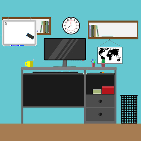 work from home: Home workplace. Work office, desk and table, vector graphic illustration