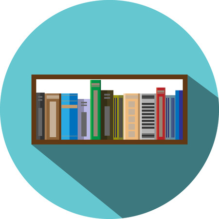 Book shelf icon flat style. Information and bookstore, school education,  textbook and library, vector graphic illustration Ilustração
