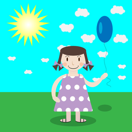 balloon woman: Girl with balloon. Happy cartoon child, art happiness, design beautiful young woman. Vector graphic illustration Illustration