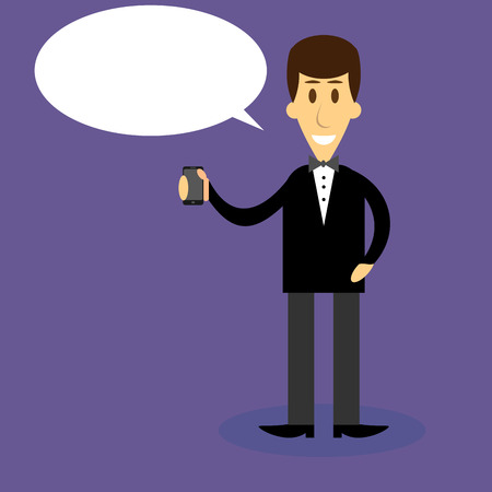 mobile communication: Man with smartphone bubble speech. Communication mobile technology, business and telephone, vector graphic illuistration Illustration