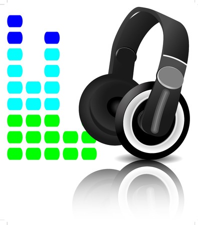 graphic equalizer: Headphones equalizer. Music and sound, audio equalizer, vector graphic  illustration player