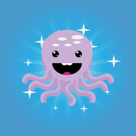 촉수: Octopus animal, tentacle sea, underwater ocean, nature marine, wild life, vector graphic illustration
