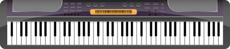 fortepian: Syntezator muzyczny. Dźwięk fortepianu muzyczne, klawiatury zabaw, Grafika wektorowa ilustracja