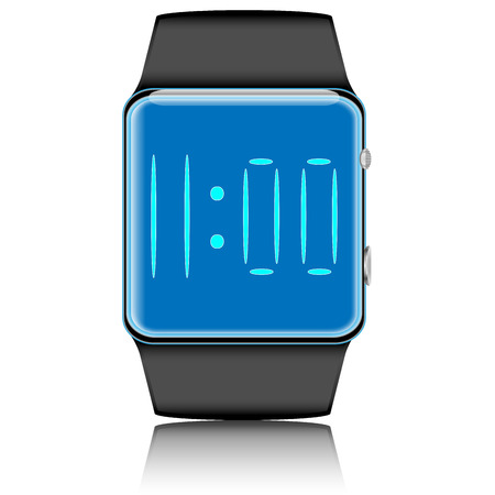 mobile communication: Smartwatch isolated. Device clock, communication gadget, interface display, mobile wristwatch digital, vector graphic illustration