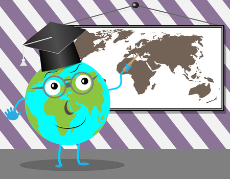 teaches: Cartoon Globe teaches geography. Education school and earth, teaching and learning, world planet, vector graphic illustration