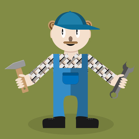 workman: Service master. Worker and tool wrench, repair service, equipment and spanner, mechanic and workman, vector graphic illustration Illustration