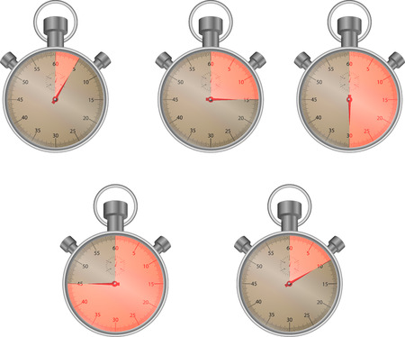 sector: Stopwatch set with isolated sector. Ten and fifteen and thirty, watch icon, vector graphic illustration