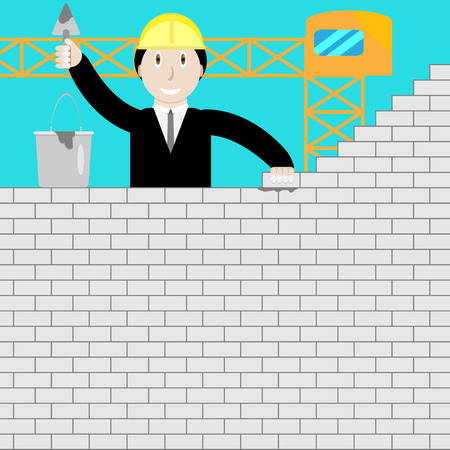 metaphoric: Businessman building a brick wall. Startup metaphor, constructor strategy, leadership man, construction person. Vector graphic illustration