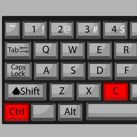 conveniently: Combination of buttons to copy. Keyboard ctrl C, combination key, fast  and quickly command. Vector graphic illustration