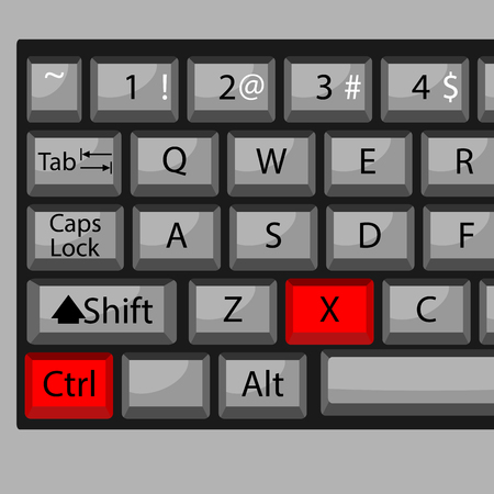 conveniently: Combination of buttons to cut. Keyboard ctrl X, combination key, fast  and quickly command. Vector graphic illustration
