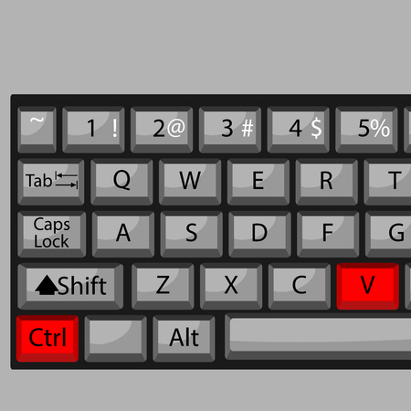 conveniently: Combination of buttons to paste. Keyboard ctrl V, combination key, fast  and quickly command. Vector graphic illustration Illustration