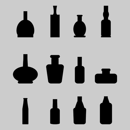 cabernet: Set of bottle. Beverage champagne wine, whiskey and cabernet, beer and liquor, martini and vodka, vector graphic illustration Illustration