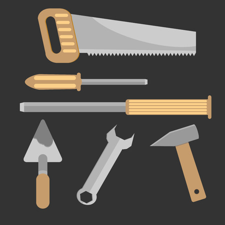 hand trowel: Set of hand tools. Chisel and trowel, handle and spanner, instrument carpentry, saw and screwdriver, hammer vector graphic illustration Illustration