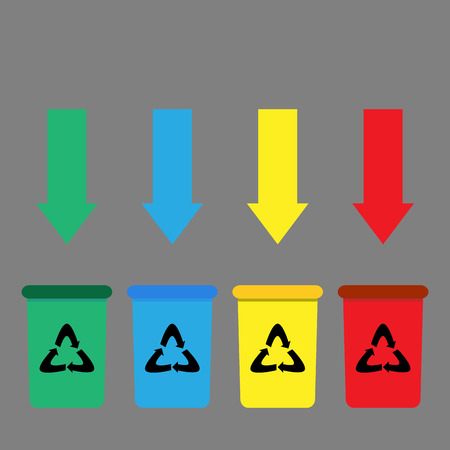 sorting: Trah bin set. Label processing sorting garbage, vector illustration