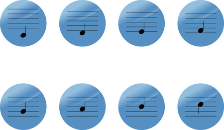 sol: Set of music notes icons. do re mi sol la si. Vector illustration