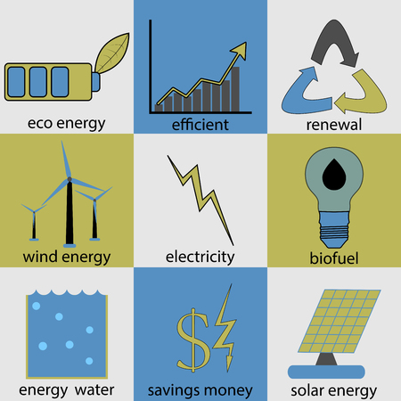 renewal: Eco energy icon set. Ecology renewal, logo biofuel, productivity and efficiency, money and electrical, button water and solar electric, vector art design abstract unusual fashion illustration Illustration