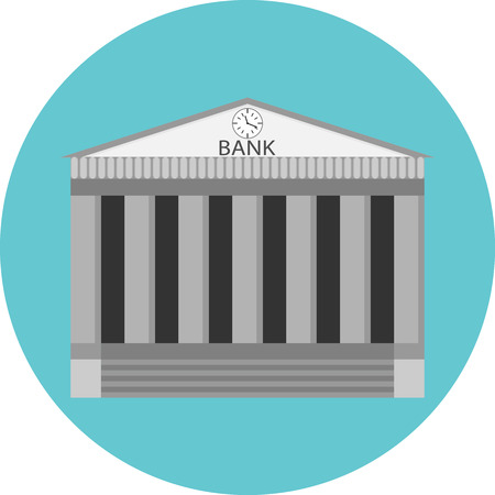 Bank icon flat label. Building government, business and money, finance architecture, banking house, financial. vector art design abstract unusual fashion illustration Reklamní fotografie - 46136830