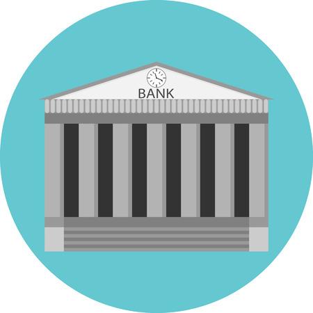 Icono Banco etiqueta plana. La construcción de gobierno, los negocios y el dinero, la arquitectura financiera, casa bancaria, financiera. arte del vector diseño abstracto ilustración de moda inusual Foto de archivo - 46136830