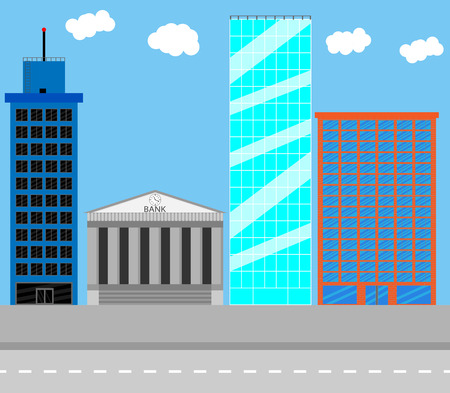 business district: Business district. Architecture urban, bank and city, town structure, building house, residential skyscraper office, vector art design abstract unusual fashion illustration Illustration