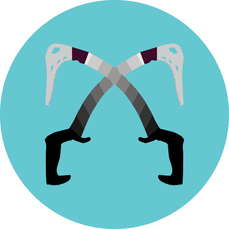 ice climbing: Cross ice axes icon. Mountain and rock equipment, sport and climbing tourism, extreme climb or mountaineering, vector art design abstract unusual fashion illustration Illustration