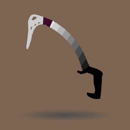 ice axe: Ice axe icon. Pickaxe and equipment, tourism extreme climb, vector art design abstract unusual fashion illustration