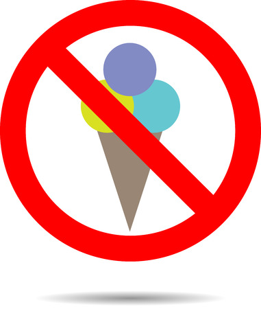 shop sign: Ban ice cream sign. Stop food, warning and prohibition, shop icon, cream dessert sweet information, vector art design abstract unusual fashion illustration