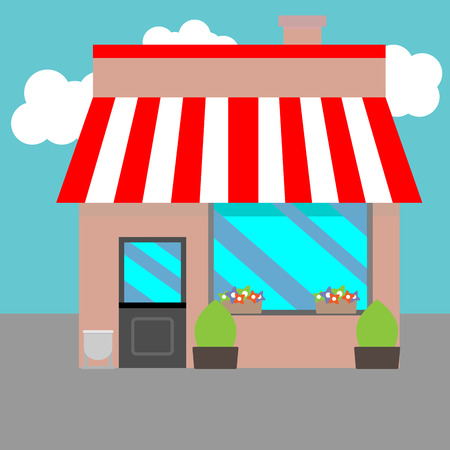 sidewalk sale: Small street shops. Awning and boutique, flowers and bush, sidewalk and sale, vector art design abstract unusual fashion illustration