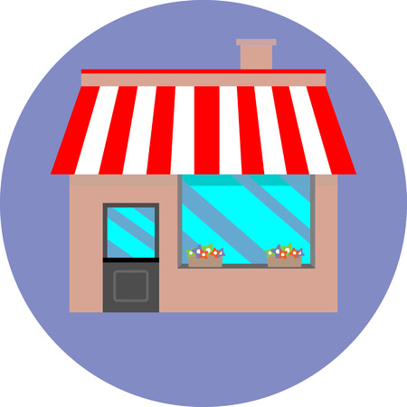 fashion building: Icon shop building retaill. Market store, facade and window, commercial architecture awning, vector art design abstract unusual fashion illustration