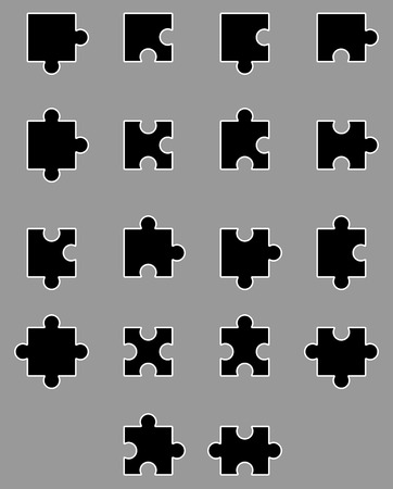 art piece: Diverse set of black silhouette puzzles. Piece jigsaw game, part cutout, connect team label. Vector art design abstract unusual fashion illustration Illustration