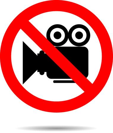 Ban video icon sign. Camera no, symbol or button prohibition, stop, not cinema, media label. Vector art design abstract unusual fashion illustration  イラスト・ベクター素材