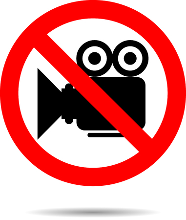 Ban video icon sign. Camera no, symbol or button prohibition, stop, not cinema, media label. Vector art design abstract unusual fashion illustration Illustration