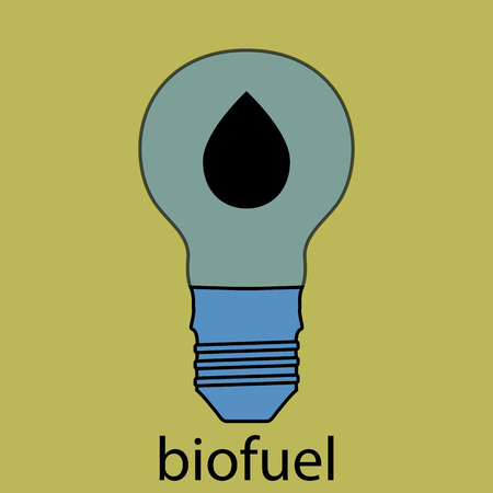 biofuel: Biofuel icon flat design. Ecology drop, power technology, light bulb, energy symbol, nature fuel. Vector art design abstract unusual fashion illustration