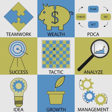 tactic: Business icon set modern concept. Pdca and success, teamwork and wealth, management and growth, tactic and alalyze, productivity strategy and development. Vector design unusual fashion illustration
