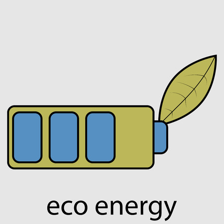 recharge: Eco energy battery with leaf. Ecology recycling, power electricity, technology recycle, charge accumulator, electrical bio natural, electric recharge. Vector design abstract unusual illustration