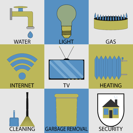 utilities: Utilities household services icon set modern. Gas and light, tv and internet, cleaning and heater, security and garbage removal, water button. Vector art design abstract unusual fashion illustration Illustration
