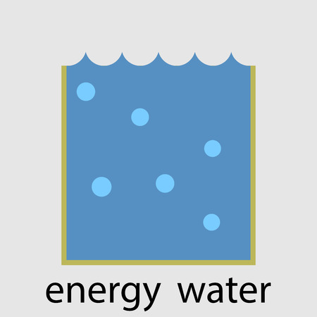 regeneration: Water energy icon flat design concept. Ecology environment, nature innovation emission resource. Vector art design abstract unusual fashion illustration Illustration