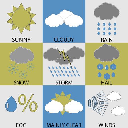 meteorological: Weather icon set modern. Sunny and cloudy, rain and winds, snow and storm, hail and fog, mainly clear weather, button meteorological. Vector art design abstract unusual fashion illustration