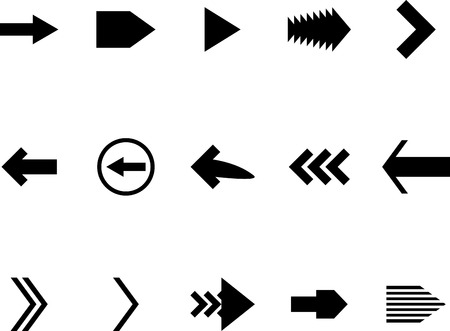 orientation: Set arrow black white. Pointer and arrowhead, signpost label, navigation and upload, orientation button. Vector art design abstract unusual fashion illustration