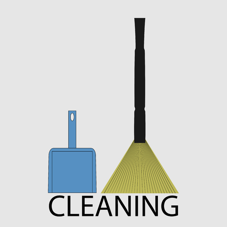 besom: Cleaning icon flat. Housework broom and dustpan, besom and cleaner, design hygiene button. Vector art design abstract unusual fashion illustration