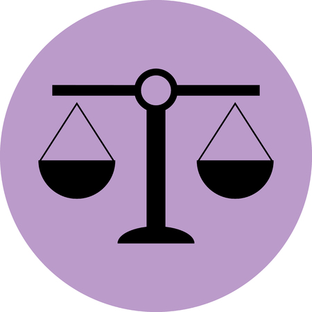 Scale icon balance. Justice and equality, law andcourt, measurement weigh, crime and legal. Vector art design abstract unusual fashion illustration Imagens - 48339079